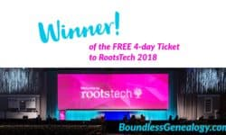 Winner RootsTech 2018 Ticket -- Boundless Genealogy