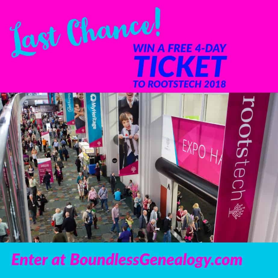Final Day to Win Ticket -- Boundless Genealogy