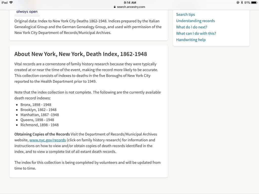 Death Certificates from the NYC Municipal Archives -- Boundless Genealogy