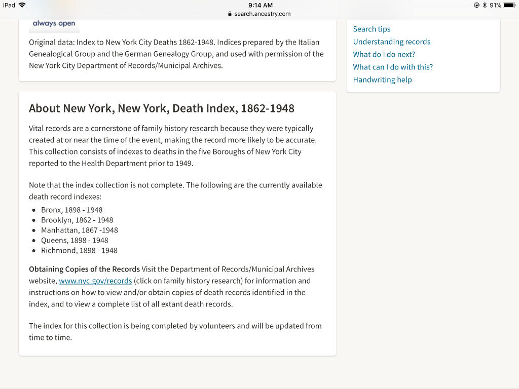 Obtain Death Certificates From The Nyc Municipal Archives