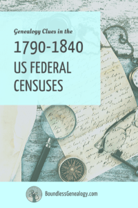 Genealogy Clues found in the early US Federal Censuses, 1790-1840